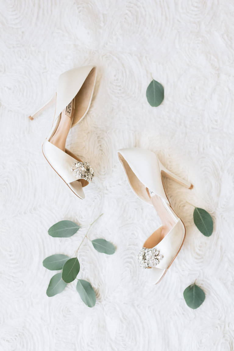 Badgley Mischka Peep Toe Satin Ivory Heel Wedding Shoes with Rhinestone Brooch Accent