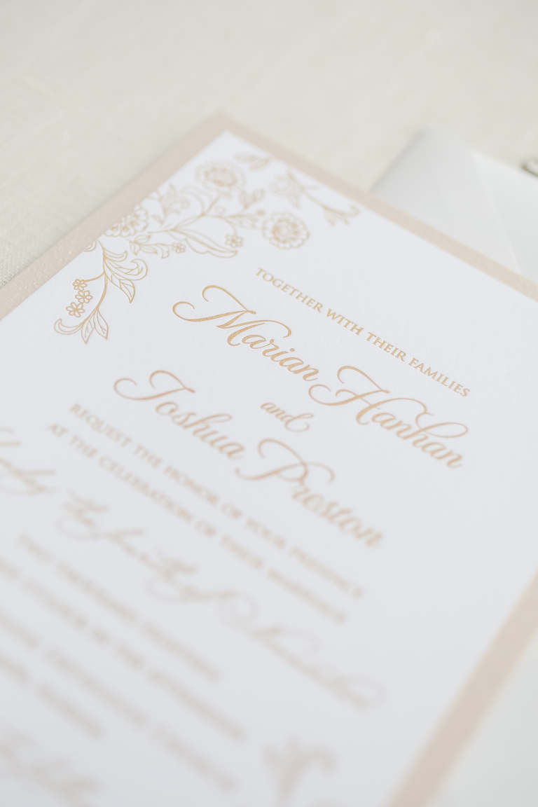 Tan, Brown, Nude and Ivory Classic Letterpress Wedding Invitation Suite with Floral Design | Tampa Bay Wedding Photographer Lifelong Photography Studio | Tampa Bay Stationery A&P Design Co