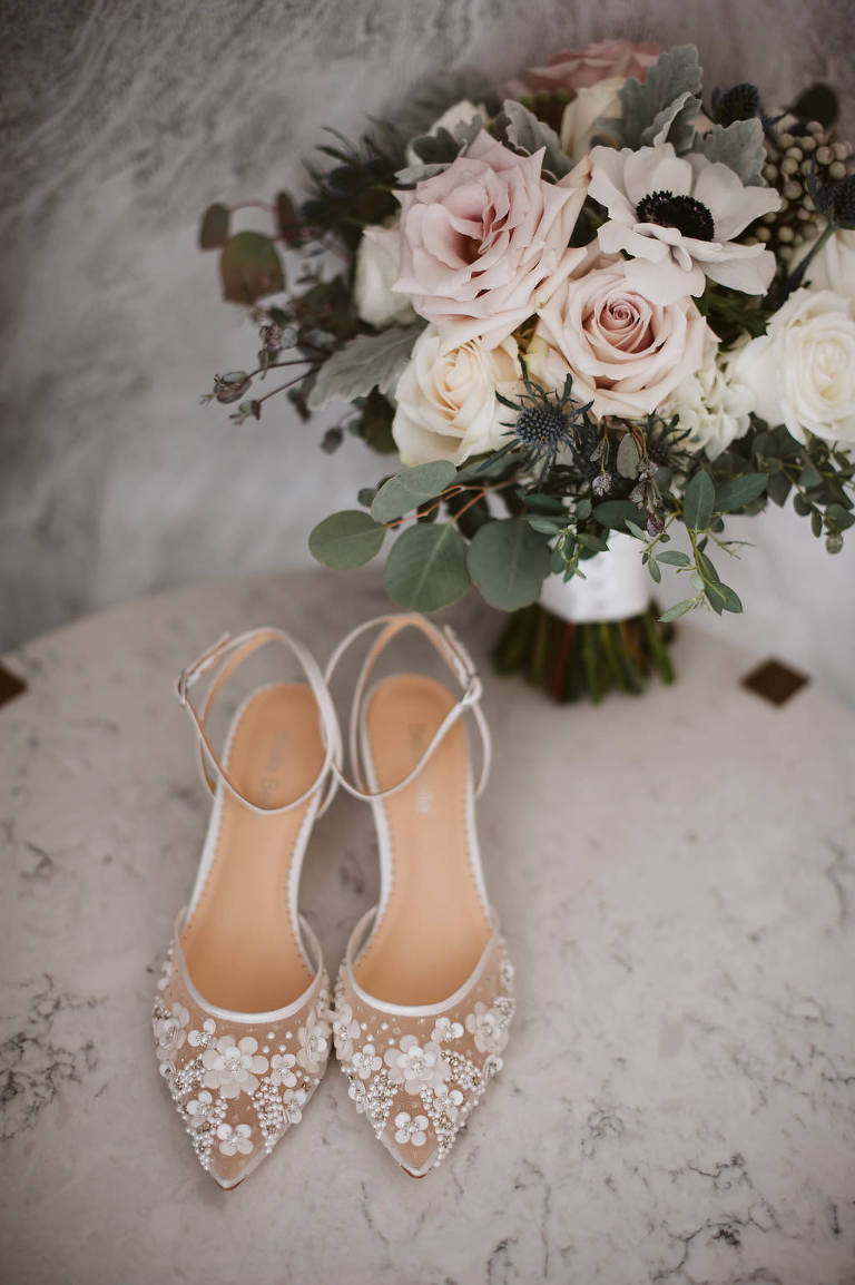 Lace wedding shoes by Bella Belle