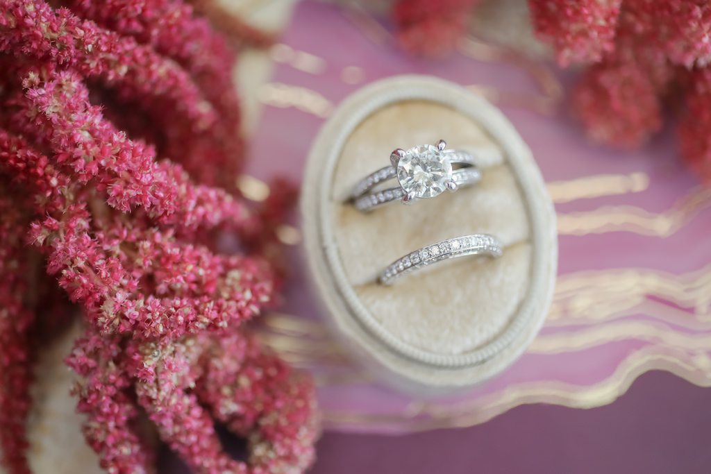 Round Diamond Engagement Ring and Diamond Wedding Ring in Velvet Cream Ring Box | Tampa Bay Wedding Photographer Lifelong Photography Studios