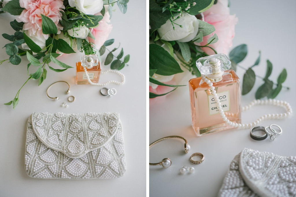 Wedding Accessories Portrait, Pearl Embellished Clutch Purse, Coco Chanel Perfume and Wedding Jewelry