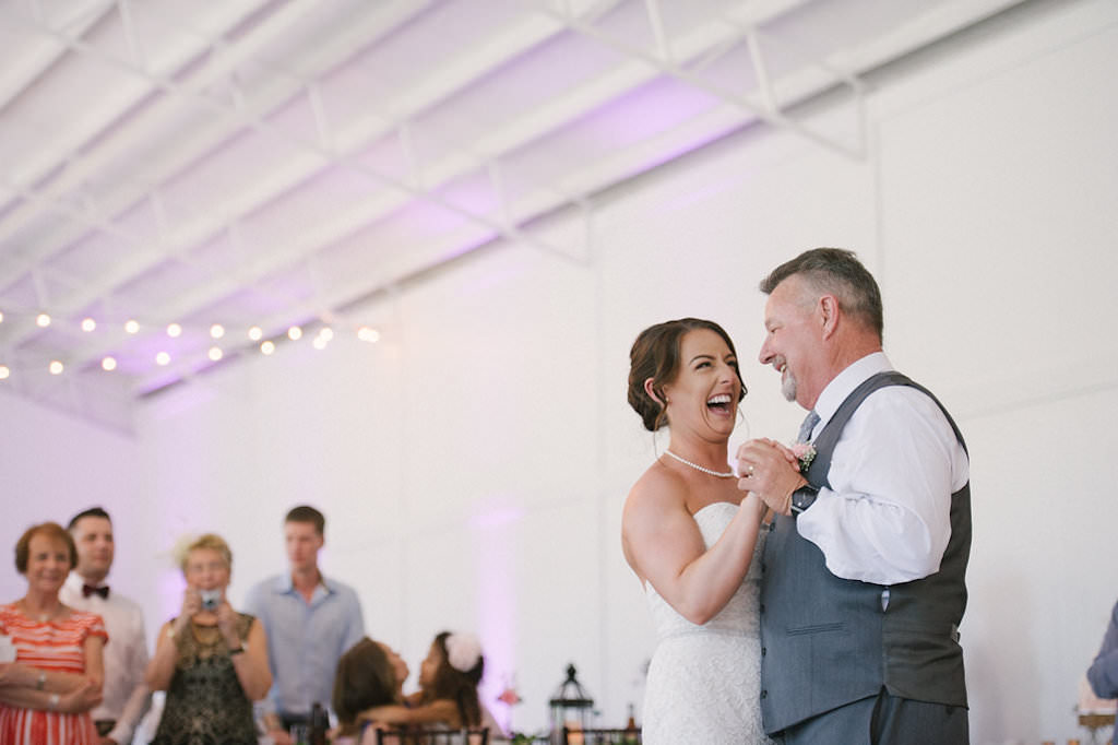 Florida Bride Dancing with Father during Wedding Reception | Tampa Bay Wedding Entertainment Graingertainment | Tampa Bay Wedding Hair and Makeup Destiny and Light Hair and Makeup