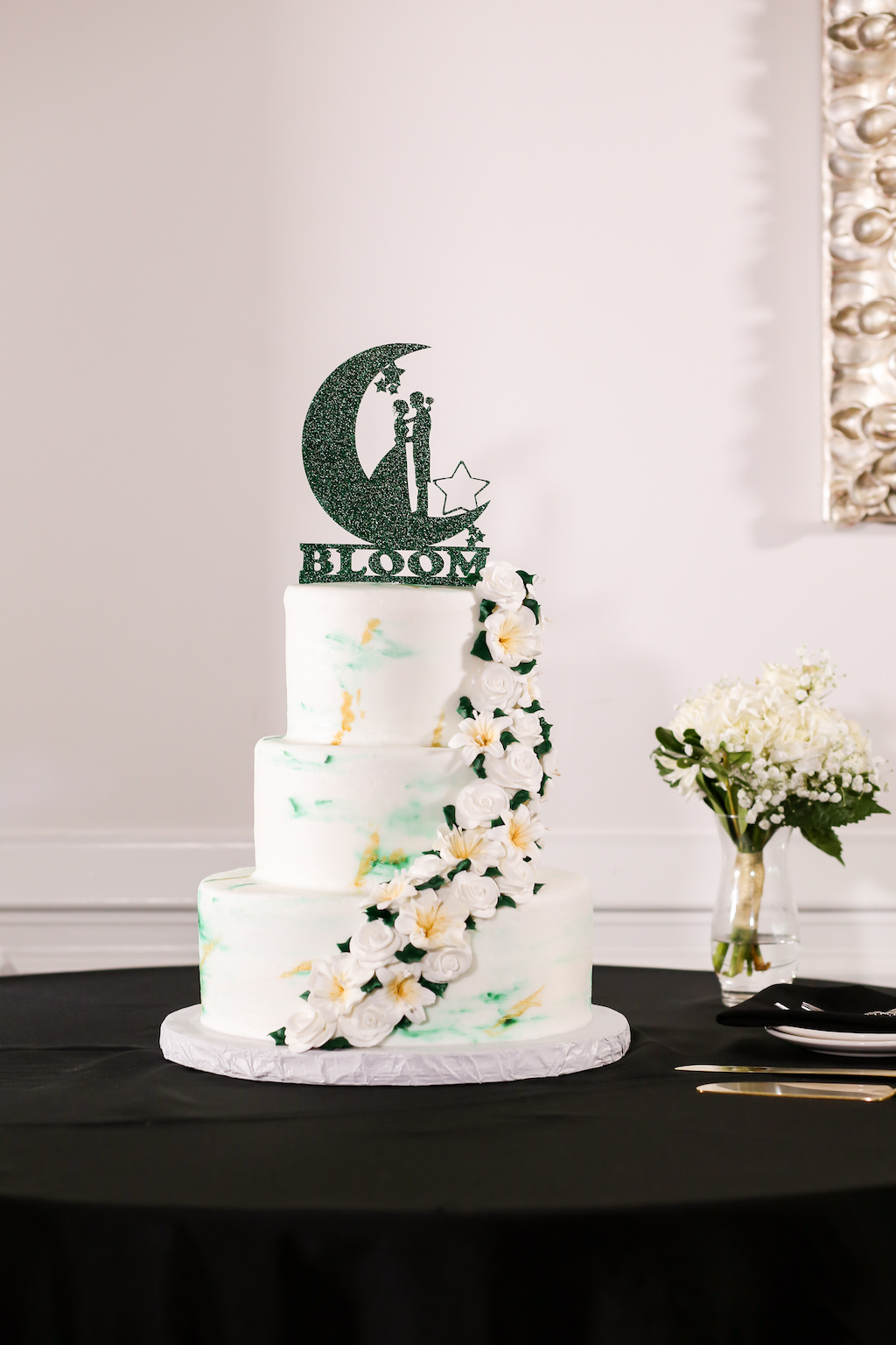 Three Tier White, Green and Gold Marble Wedding Cake with