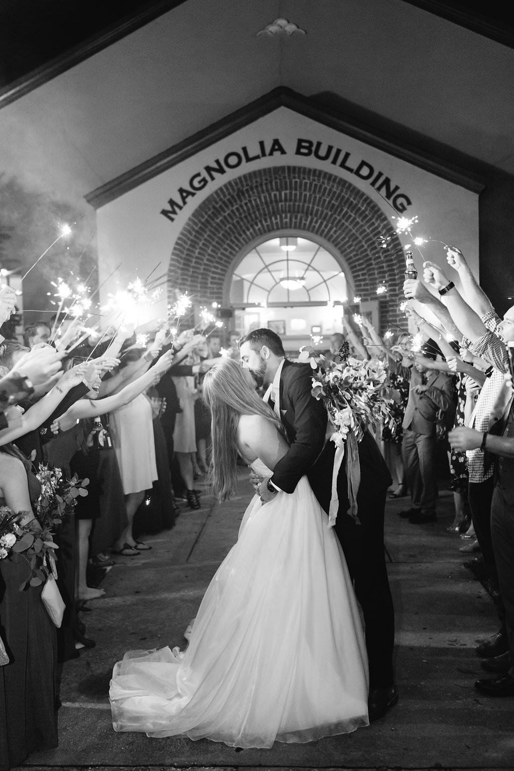 Florida Bride and Groom Black and White Sparkler Exit Wedding Portrait   Lakeland Wedding Venue The Magnolia Building   Tampa Bay Wedding Planner Love Lee Lane
