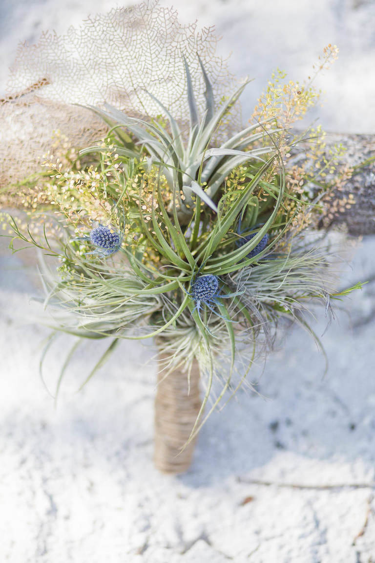 Organic Beach Inspired Wedding Floral Bouquet with Greenery and Purple Flowers | Tampa Bay Wedding Planner UNIQUE Weddings and Events