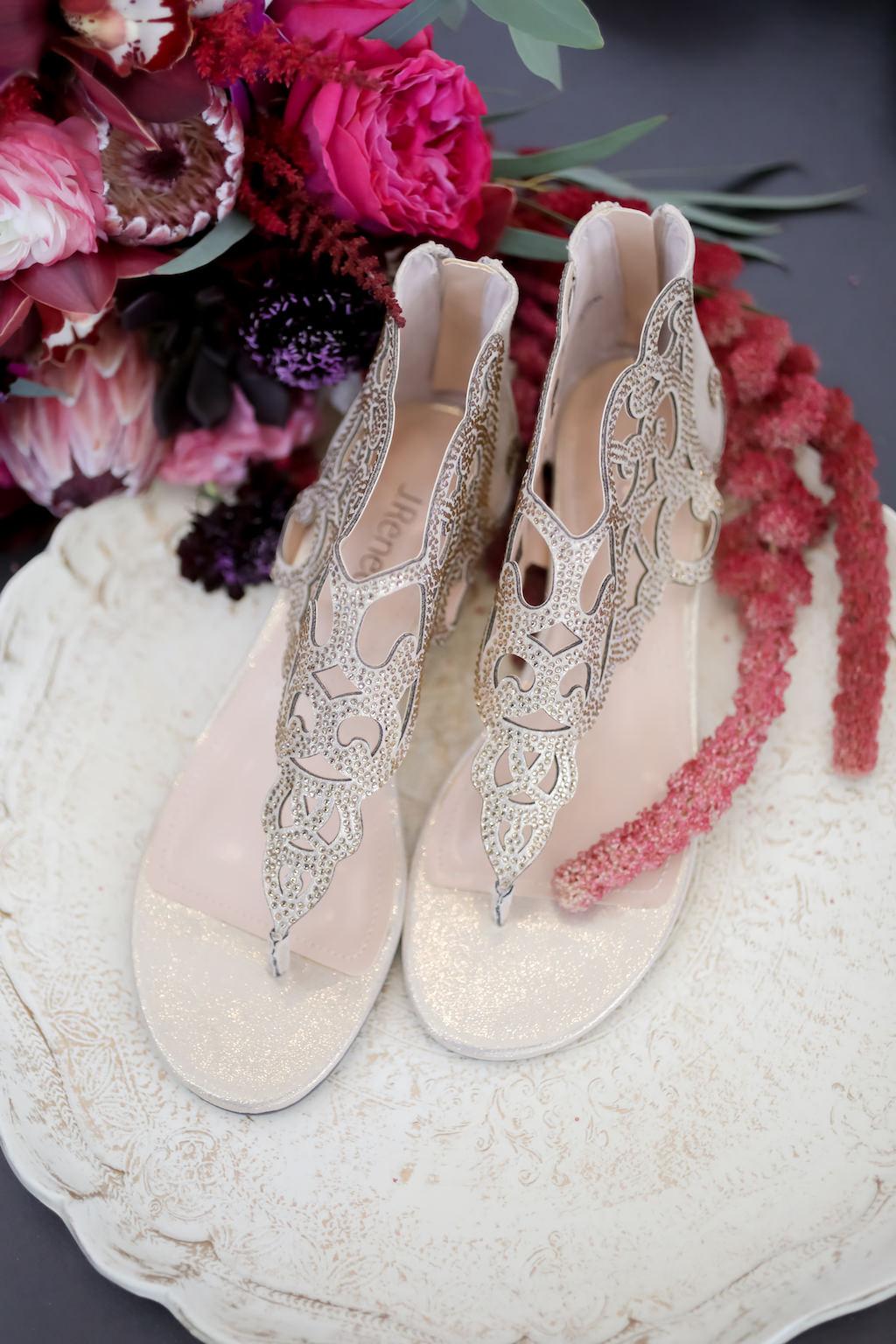 Silver and Rhinestone Cage Style Flat Sandal | Tampa Bay Wedding Photographer Lifelong Photography Studios
