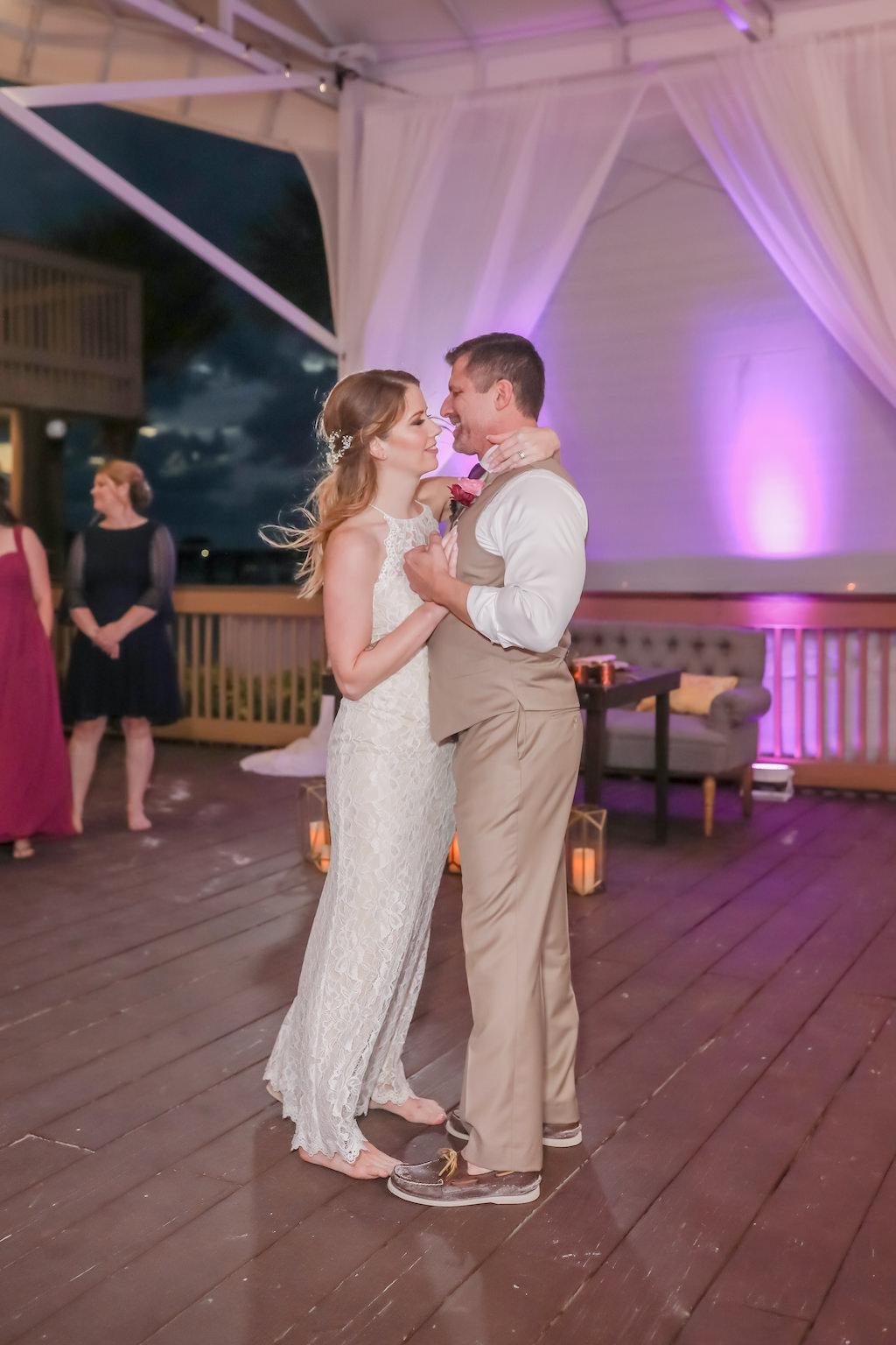 Florida Bride and Groom First Dance Wedding Portrait | Tampa Bay Wedding Photographer Lifelong Photography Studios | Clearwater Beach Hotel Wedding Venue Hilton Clearwater Beach