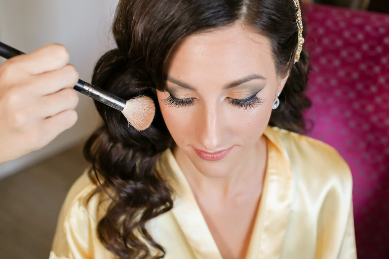 Florida Bride Getting Ready Makeup Wedding Portrait | Tampa Bay Wedding Photographer Lifelong Photography Studio | St. Pete Wedding Hair and Makeup Artist Destiny and Light