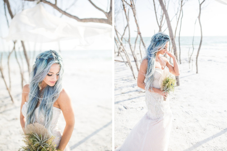 Organic, Florida Beach Waterfront Mermaid Inspired Wedding Styled Shoot, Whimsical Bride with Blue Hair and Braid, Strapless Sweetheart Fitted Wedding Dress | Tampa Bay Wedding Planner UNIQUE Weddings and Events