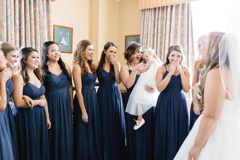 Florida Bride and Bridesmaids First Look Wedding Portrait, Bridesmaids in Matching Navy Blue Spaghetti Strap Long Dresses