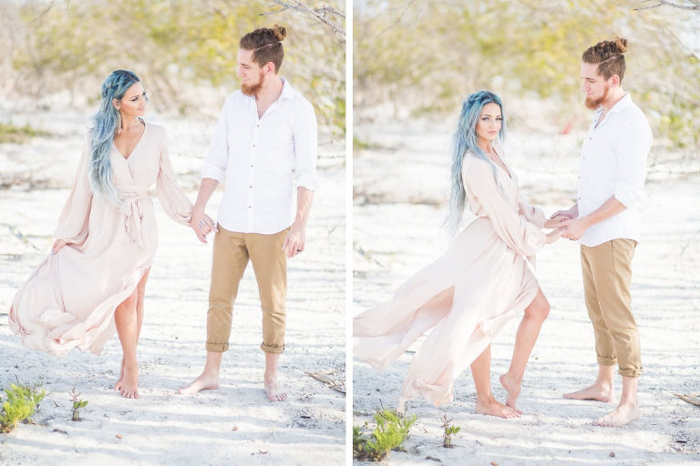 Florida Beach Wedding Styled Shoot, Bride and Groom Portrait, Bride in Nude Flowy Long Sleeve Dress, Groom in White Button Down Shirt and Khaki Capri Pants