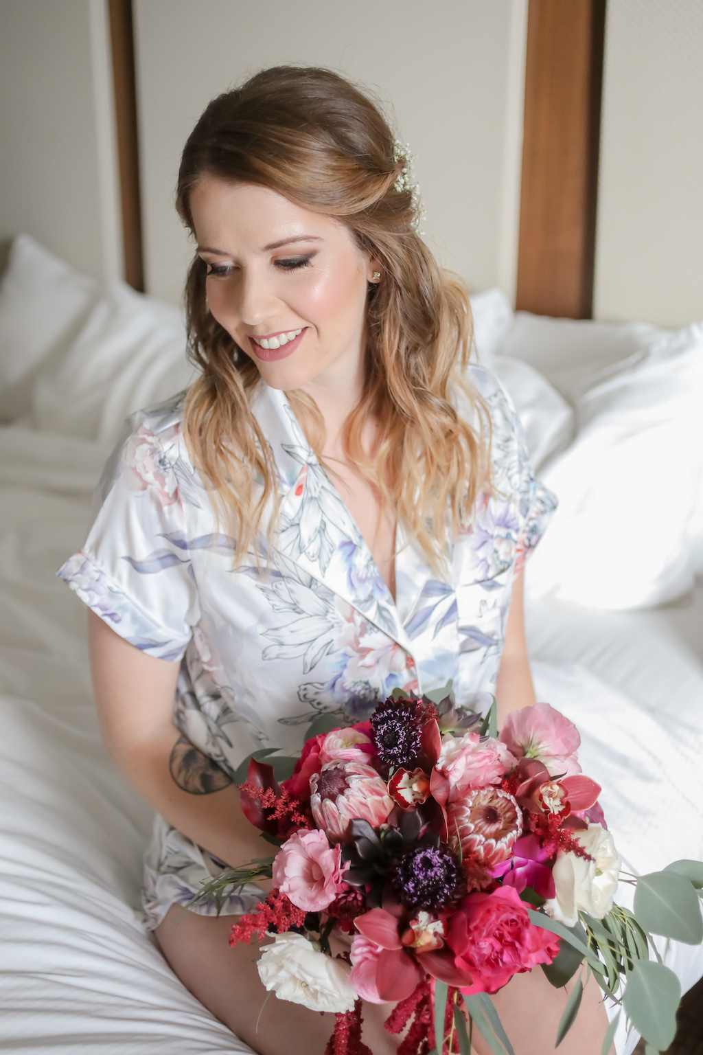 Florida Bride Getting Ready Wedding Portrait in Silk Floral and Light Blue Robe with Jewel Tone, Purple, Plum, Pink, White and Greenery Organic Floral Bouquet | Tampa Bay Wedding Photographer Lifelong Photography Studios | Hair and Makeup Artist Femme Akoi