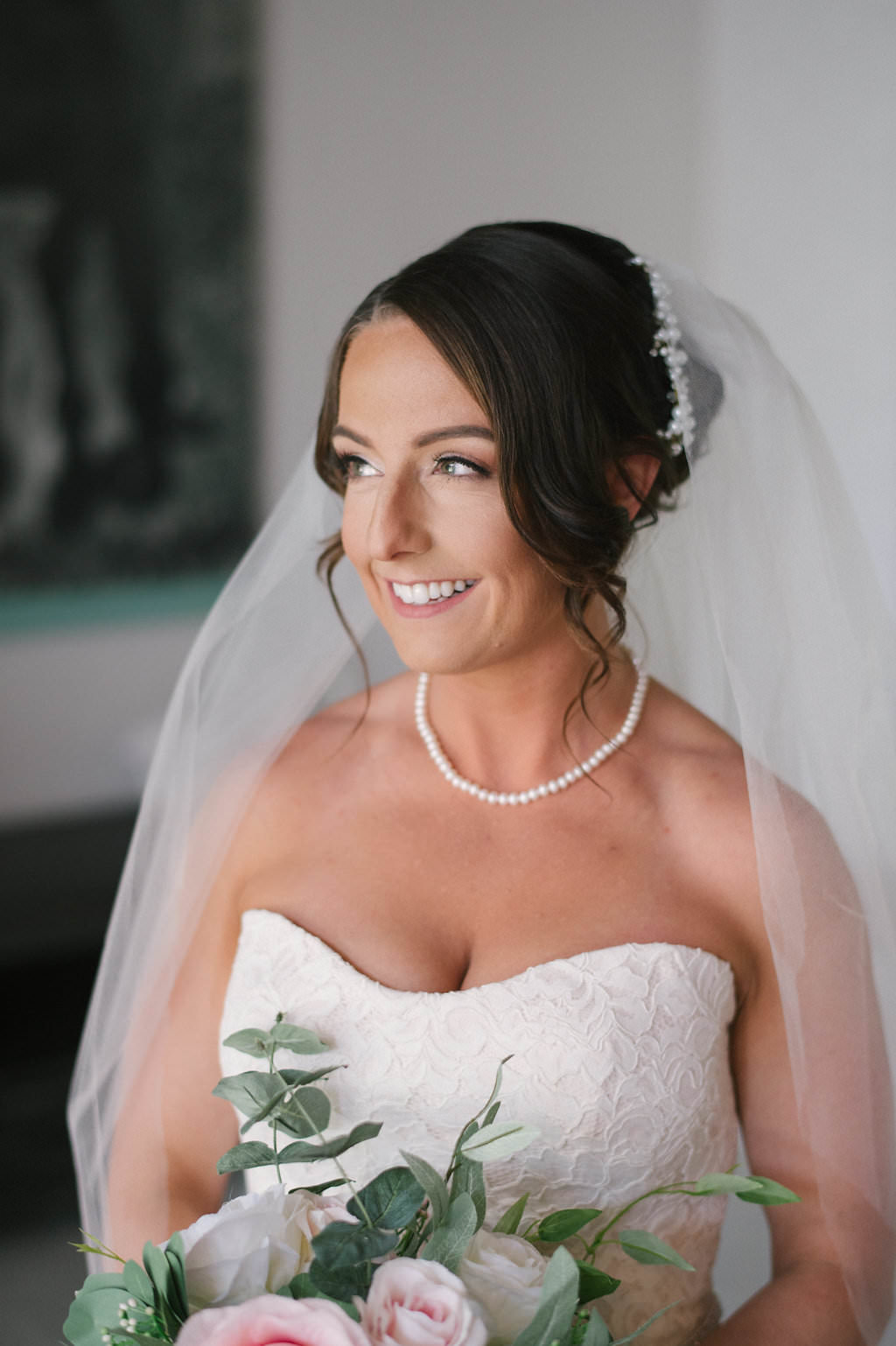 Florida Bride Wedding Portrait in Strapless Sweetheart Lace Wedding Dress | Tampa Bay Wedding Hair and Makeup Destiny and Light Hair and Makeup Group