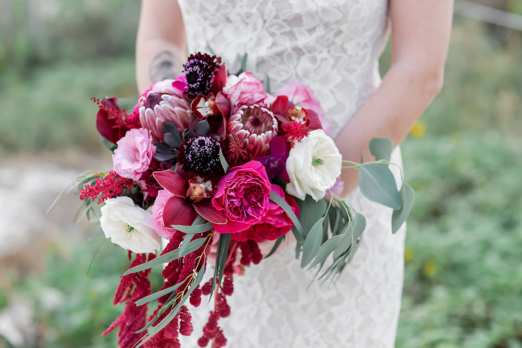 Florida Bride Wedding Portrait in Fitted Lace Wedding Dress with Jewel Tone, Purple, Plum, Pink, White, and Greenery Organic Bridal Bouquet | Tampa Bay Wedding Photographer Lifelong Photography Studios