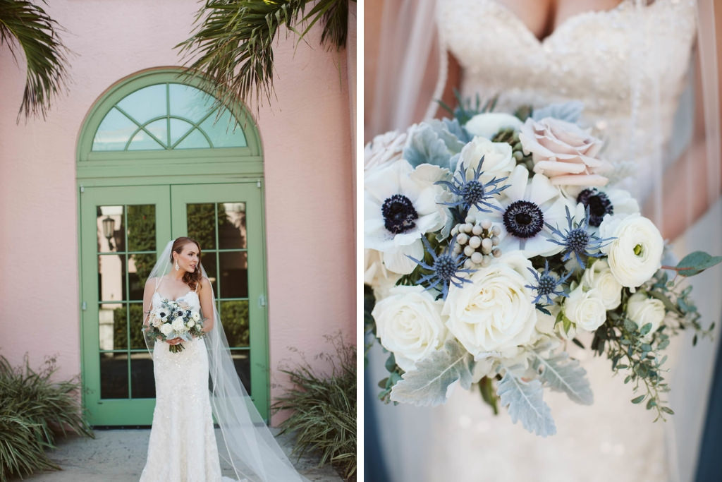 Anemone Rose Greenery And Blue Thistle Bridal Wedding Bouquet