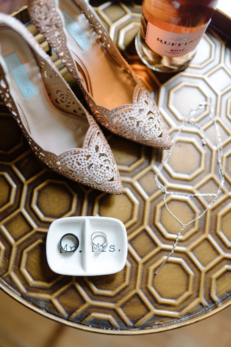 Crystal studded wedding bridal heels with Ring Dish