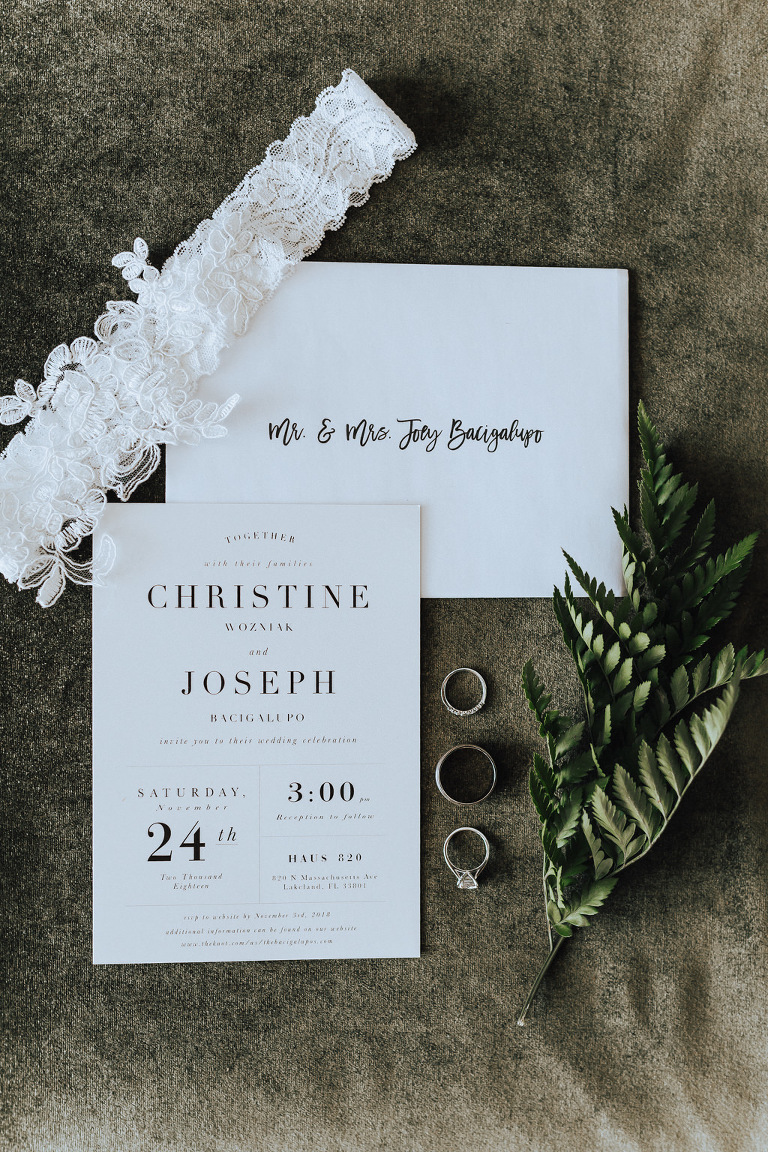 Modern White and Black Simple Wedding Invitation, Lace White Garter, Bride and Groom Wedding Rings and Engagement Ring