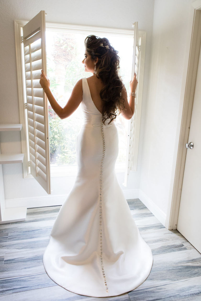 Florida Bride Wedding Portrait in Fitted Silk Tank Top Strap Wedding Dress with Button Detail Down Back | Hair and Makeup Destiny and Light Hair and Makeup Group