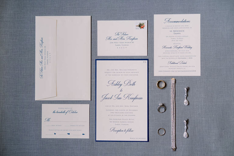 Modern Classic White and Blue Invitation Suite with Wedding Jewelry