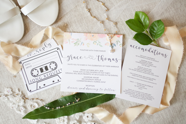 Black, White and Floral Wedding Invitation Suite, Diamond Necklace and Bracelet | Tampa Bay Wedding Photographer Lifelong Photography Studios | Wedding Planner Special Moments Event Planner