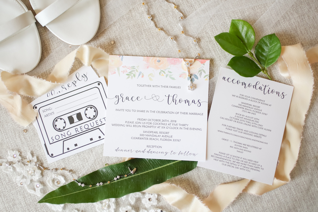 Black, White and Floral Wedding Invitation Suite, Diamond Necklace and Bracelet   Tampa Bay Wedding Photographer Lifelong Photography Studios   Wedding Planner Special Moments Event Planner