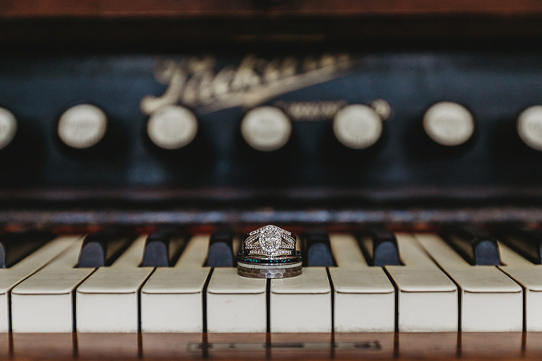 Oval Halo Diamond Engagement Ring, Groom Wedding Ring on Piano Portrait