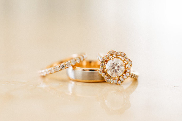 Round Diamond Flower Halo Rose Gold Engagement Ring, Bride and Groom Wedding Rings