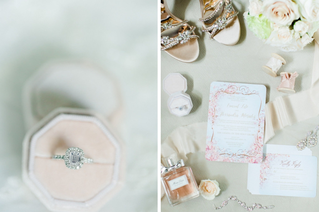 Cushion Cut with Halo Diamond Engagement Ring in Blush Pink Velvet Ring Box, Pink, White and Gold Floral Wedding Invitation and Wedding Accessories