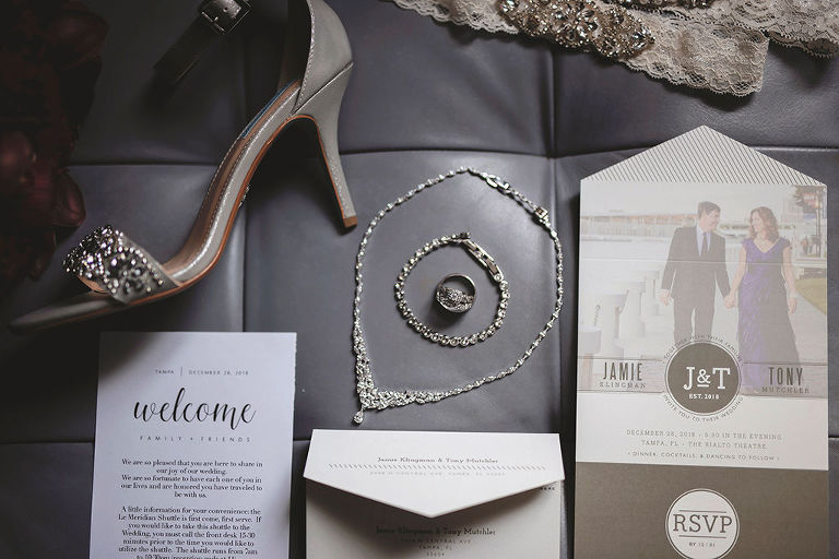 Modern Wedding invitation and Save the Date, Diamond Necklace, Diamond Bracelet, Engagement Ring, Ivory and Rhinestone Brooch Garter, Silver Rhinestone Strap Low Heel Wedding Shoe