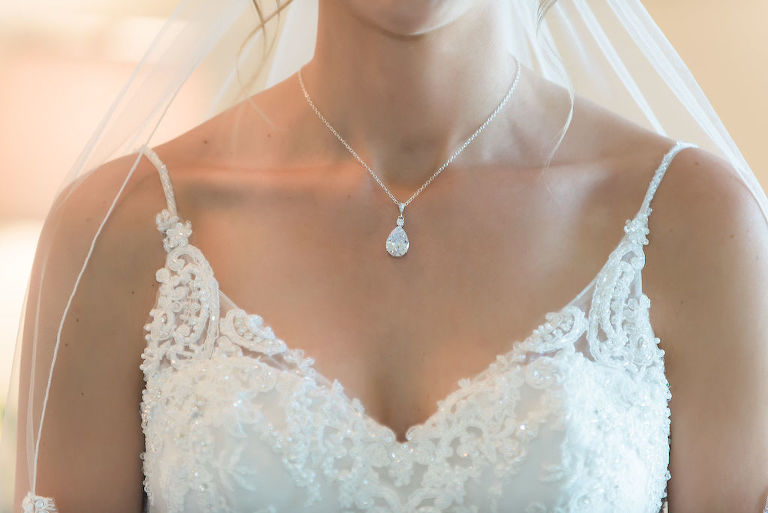 Florida Bride Wedding Portrait, Teardrop Diamond Necklace, V Neckline Lace and Illusion Rhinestone Spaghetti Strap Wedding Dress | Tampa Bay Wedding Dress Shop Truly Forever Bridal