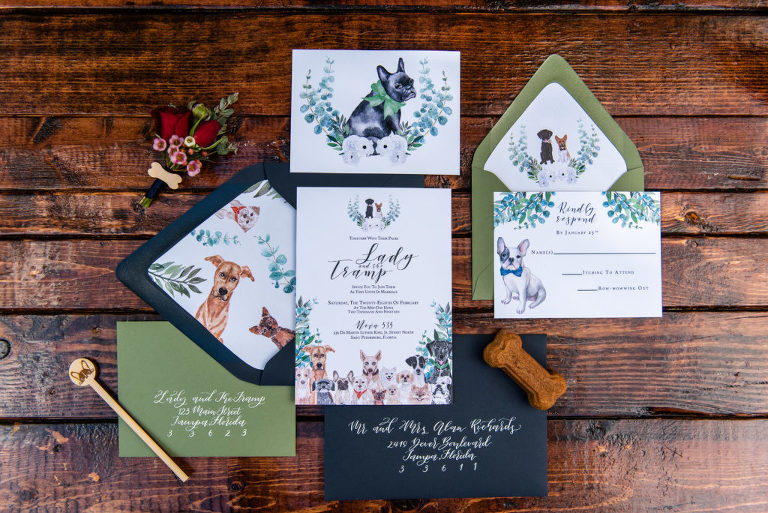 Dog Inspired Watercolor Sage Green, White and Navy Blue Wedding Invitation Suite | Tampa Bay Wedding Photographer Caroline and Evan Photography