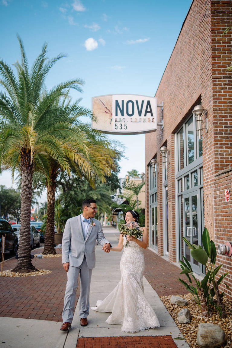 Bride and groom at downtown St. Pete wedding NOVA 535 | Tampa Bay Wedding Photographer Kera Photography