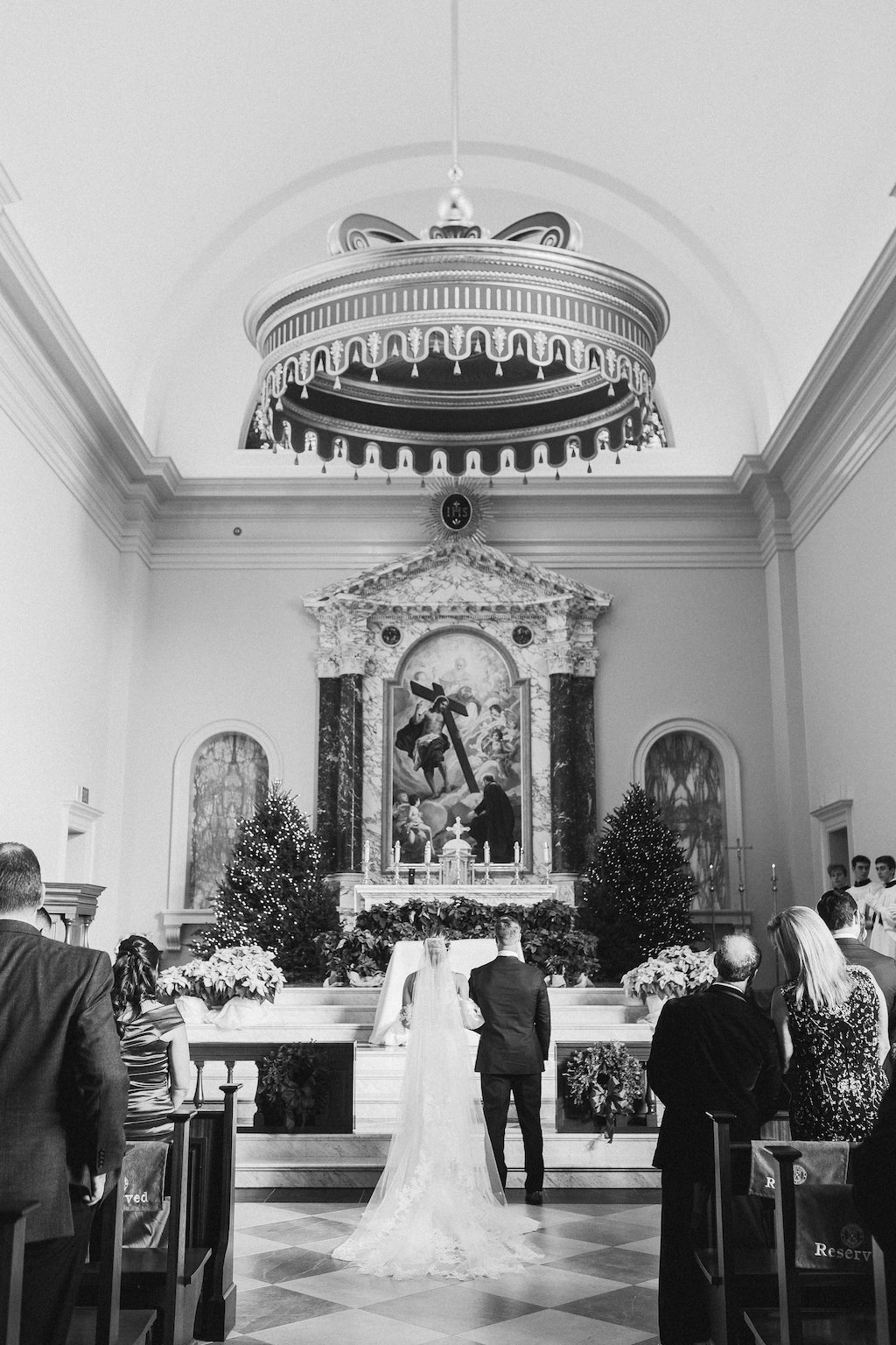 Traditional Church Wedding Ceremony Bride and Groom Wedding Portrait | The Chapel of the Holy Cross (Jesuit High School)