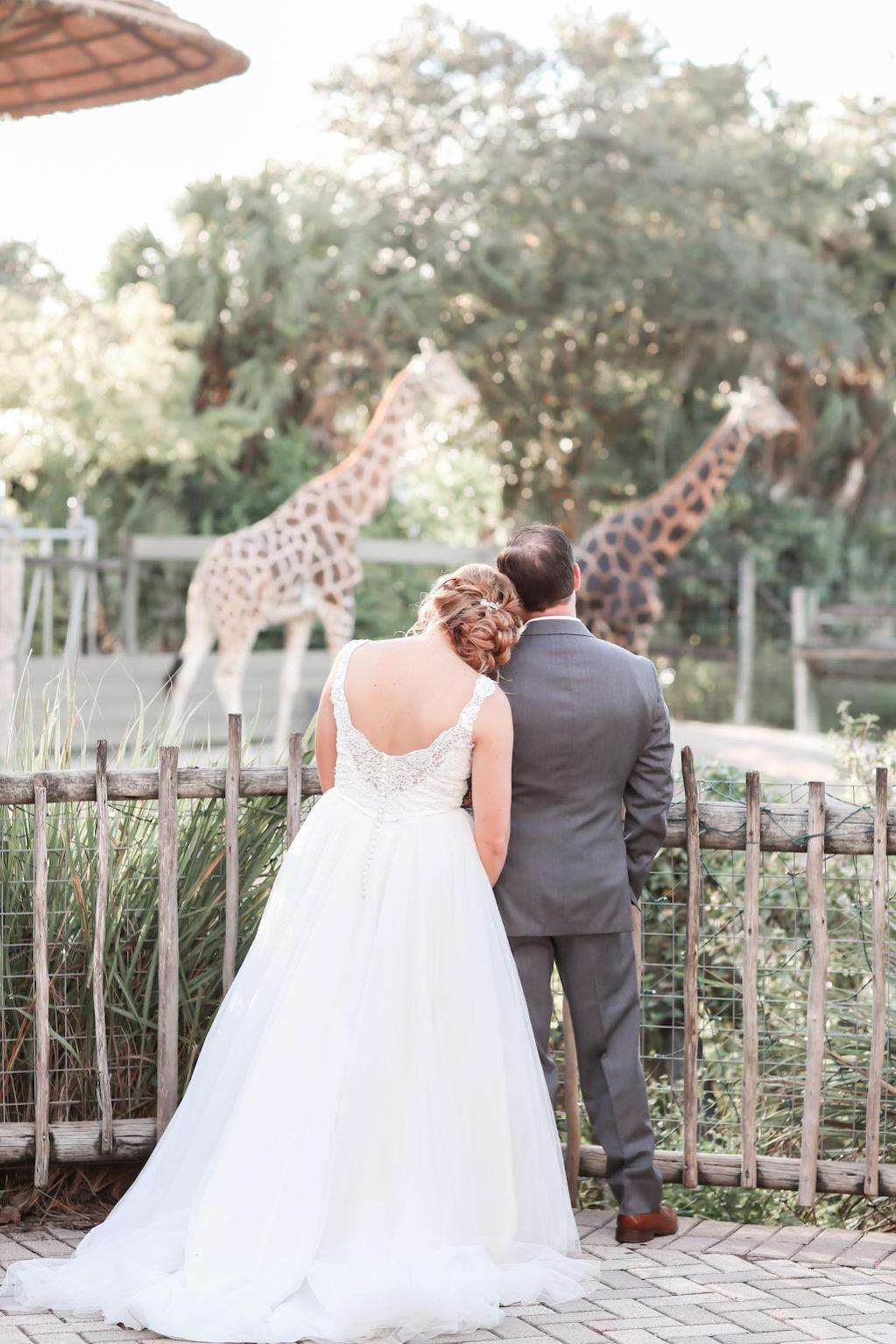 Florida Bride and Groom Outdoor Wedding Portrait | Tampa Bay Wedding Photographer Lifelong Photography Studio | Tampa Unique Wedding Venue ZooTampa at Lowry Park