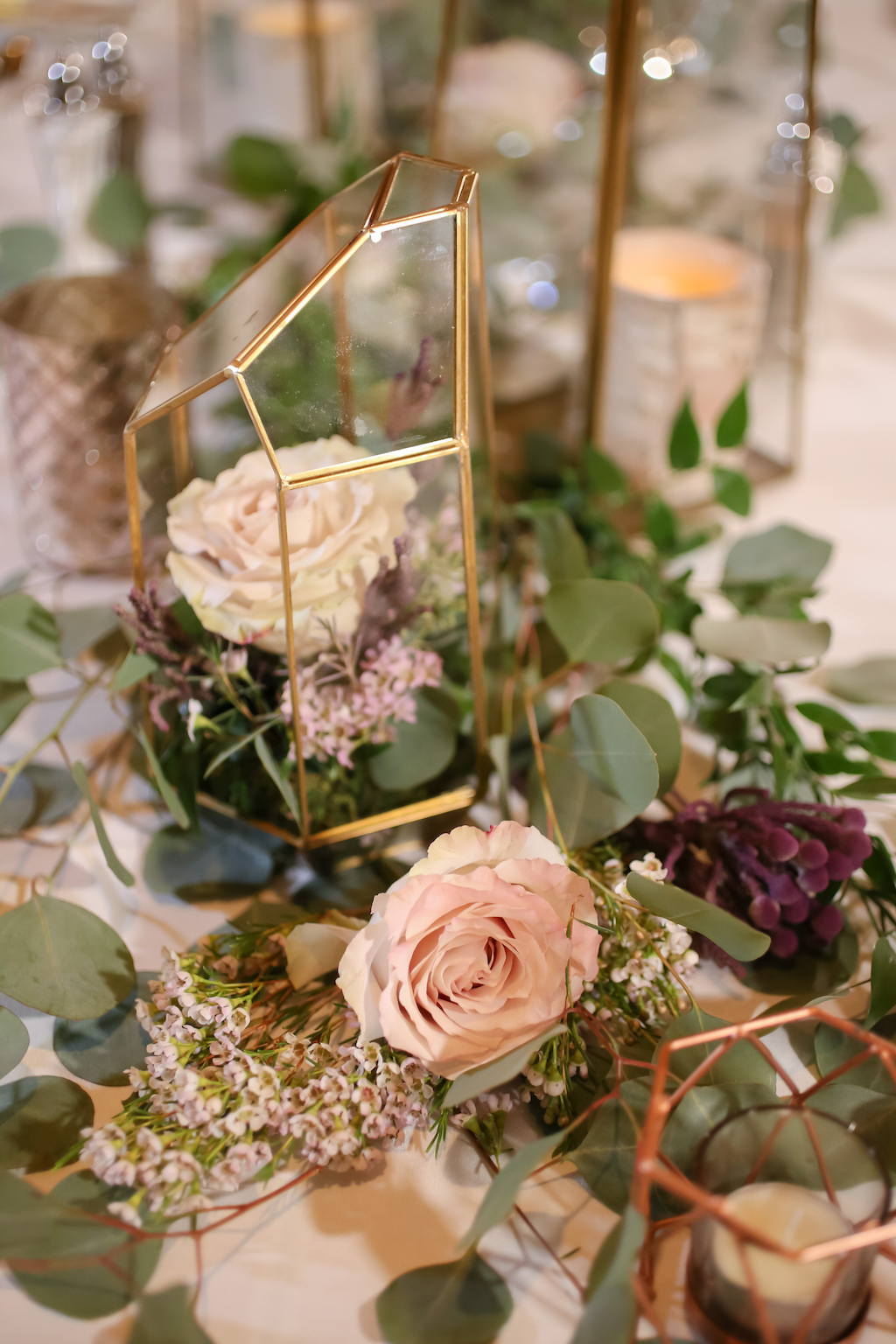Romantic Garden Inspired Wedding Reception Decor, Gold Geometric Vases with Ivory, Greenery and Purple Flowers   Tampa Bay Wedding Photographer Lifelong Photography Studios   Wedding Planner Special Moments Event Planning