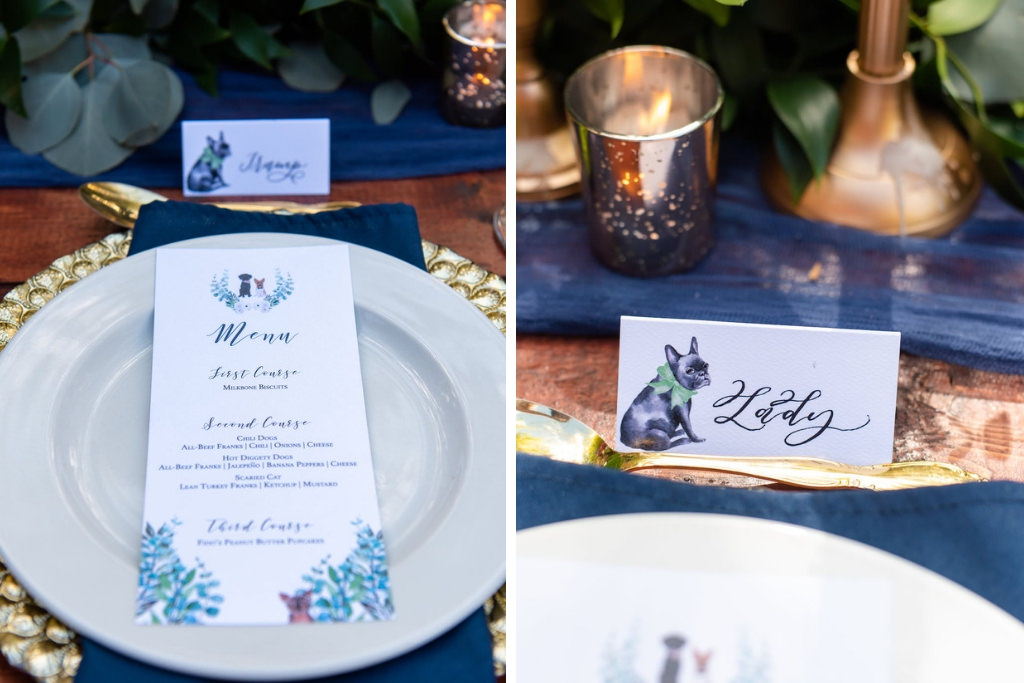 Wedding Reception Decor, Pale Blue Plate, Custom Dog Inspired Menu and Traditional Seating Card Tampa Bay Wedding Photographer Caroline and Evan Photography (20)
