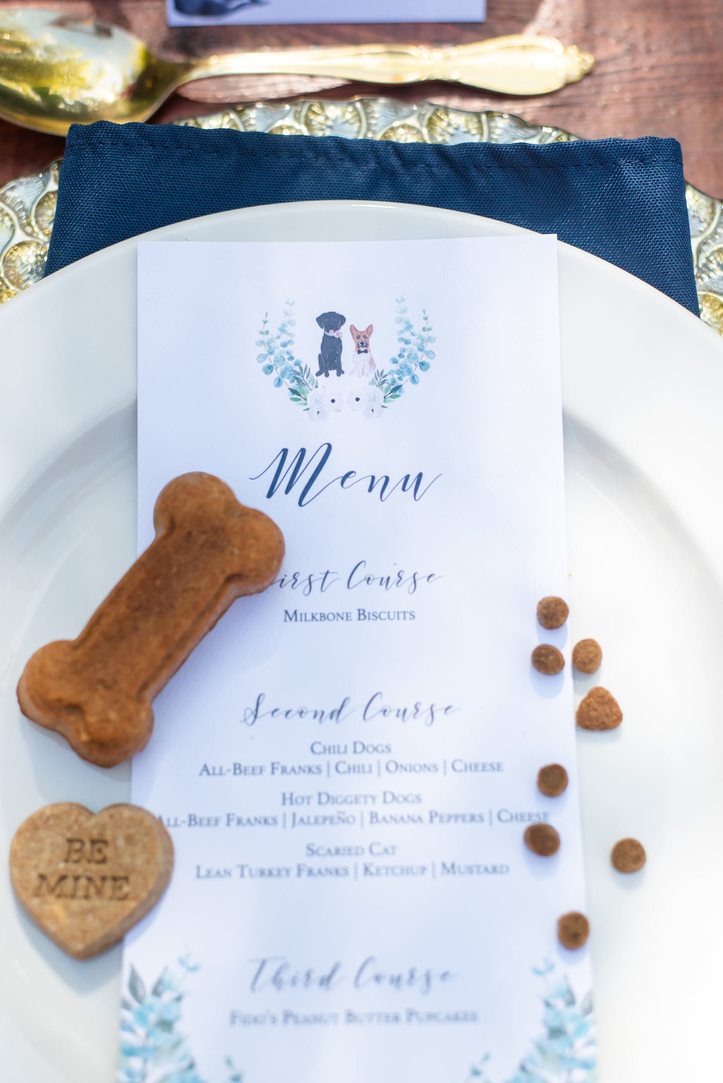 Wedding Reception Decor, Pale Blue Plate, Custom Dog Inspired Menu | Wedding Photographer Caroline and Evan Photography | Designer and Planner Southern Weddings and Events