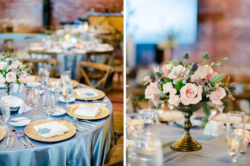 Romantic Wedding Reception Decor, Satin Light Blue Tablecloths, Gold Chargers, Low Brushed Bronze Vase with Blush Pink and Greenery Floral Centerpiece