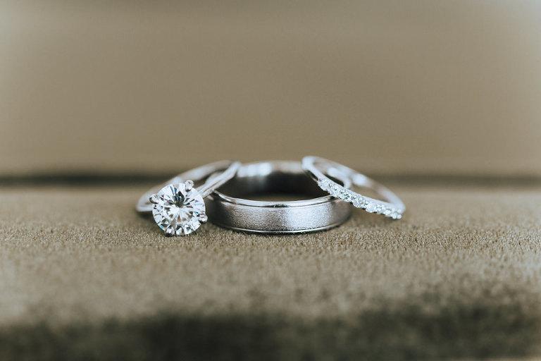 Round Diamond Engagement Ring, Silver/White Gold Groom Wedding Ring, Diamond Bride Wedding Ring