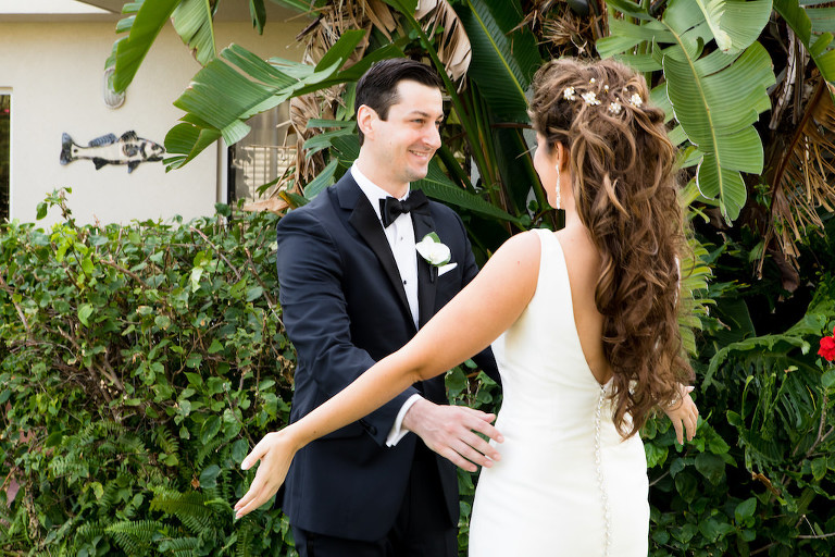 Tampa Bay Bride and Groom First Look Outdoor Wedding Portrait | Hair and Makeup Destiny and Light Hair and Makeup Group