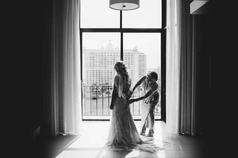 Florida Bride Getting Ready Black and White Wedding Portrait