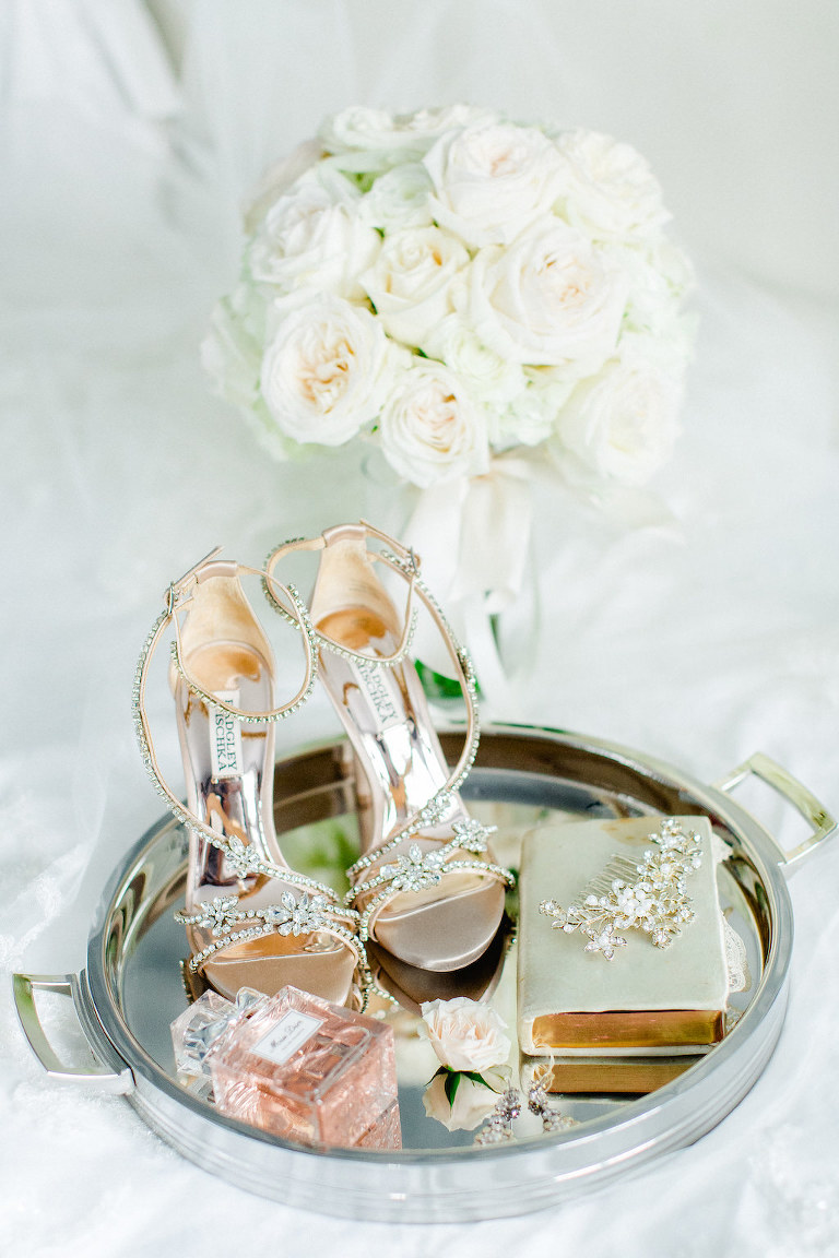 Rose Gold Strappy Rhinestone Badgley Mischka Heel Wedding Shoes, Perfume Bottle, Sage Green Leather Book, Rhinestone Headpiece on Round Mirror Tray and Ivory Rose Floral Bouquet
