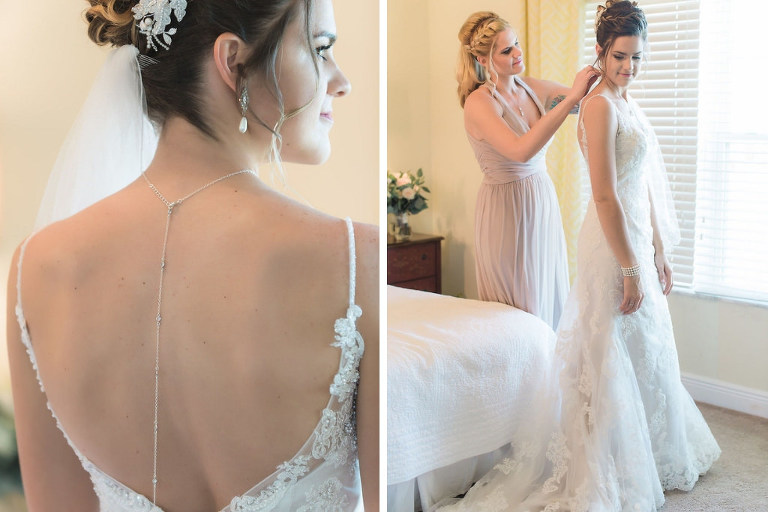 Florida Bride Getting Ready Wedding Portrait, Open Back Rhinestone Spaghetti Strap, Lace and Illusion Wedding Dress with Long Hanging Necklace | Tampa Bay Wedding Dress Shop Truly Forever Bridal