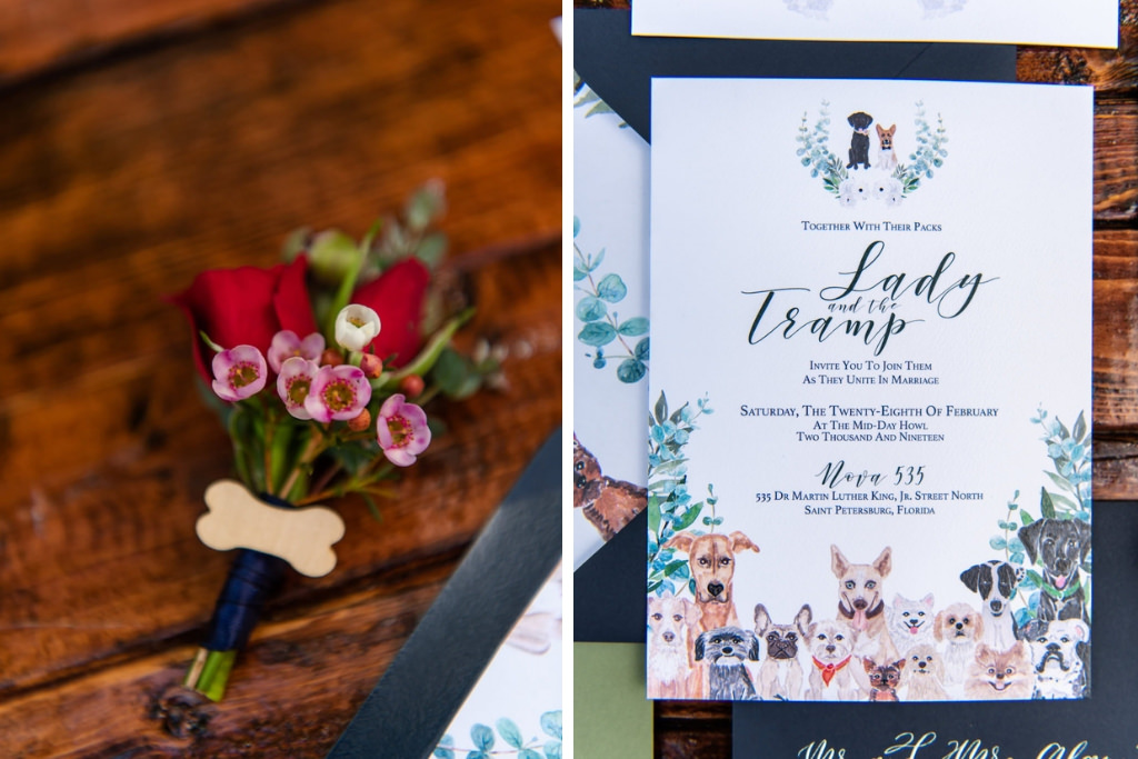 Dog Inspired Boutonnierre, Red Roses and Pink Waxy Flowers with Wooden Bone Brooch and Navy Blue Ribbon, Watercolor Sage Green, White and Navy Blue Wedding Invitation Suite | Tampa Bay Wedding Photographer Caroline and Evan Photography | Designer and Planner Southern Glam Weddings & Events | Florist Monarch Events And Design