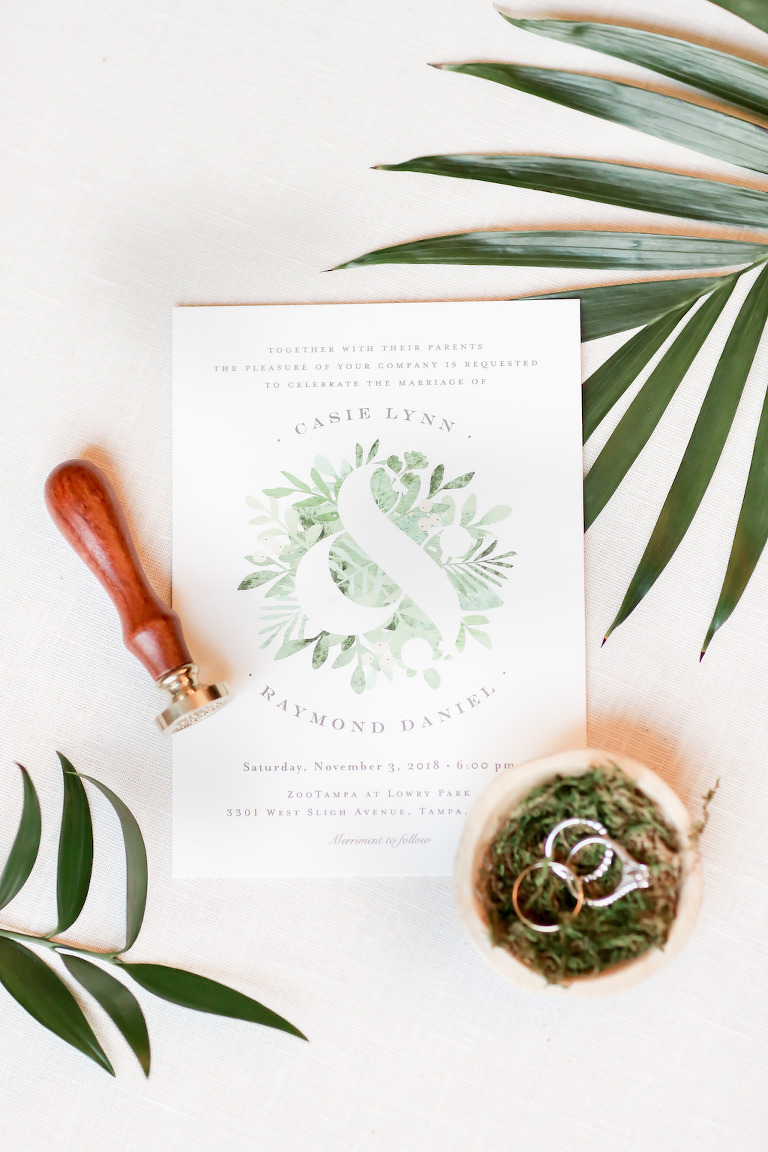 White and Greenery Tropical Inspired Wedding Invitation Suite | Tampa Bay Wedding Photographer Lifelong Photography Studio
