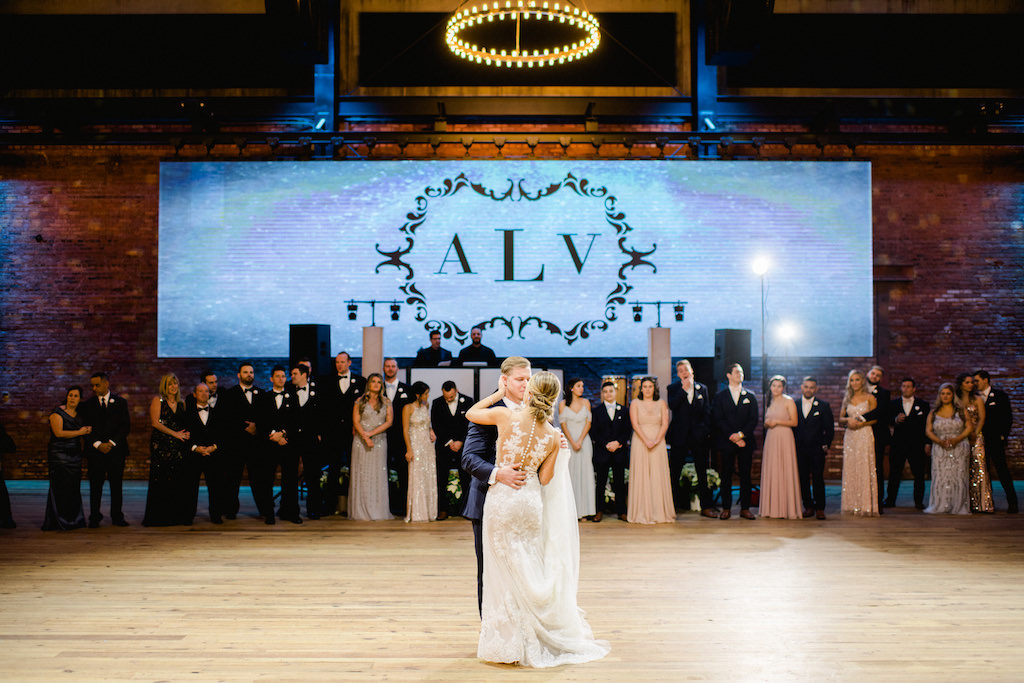 Wedding Reception Bride and Groom First Dance Wedding Portrait, Projector Screen with Monogram Initials | Tampa Heights Industrial Historic Wedding Venue Armature Works