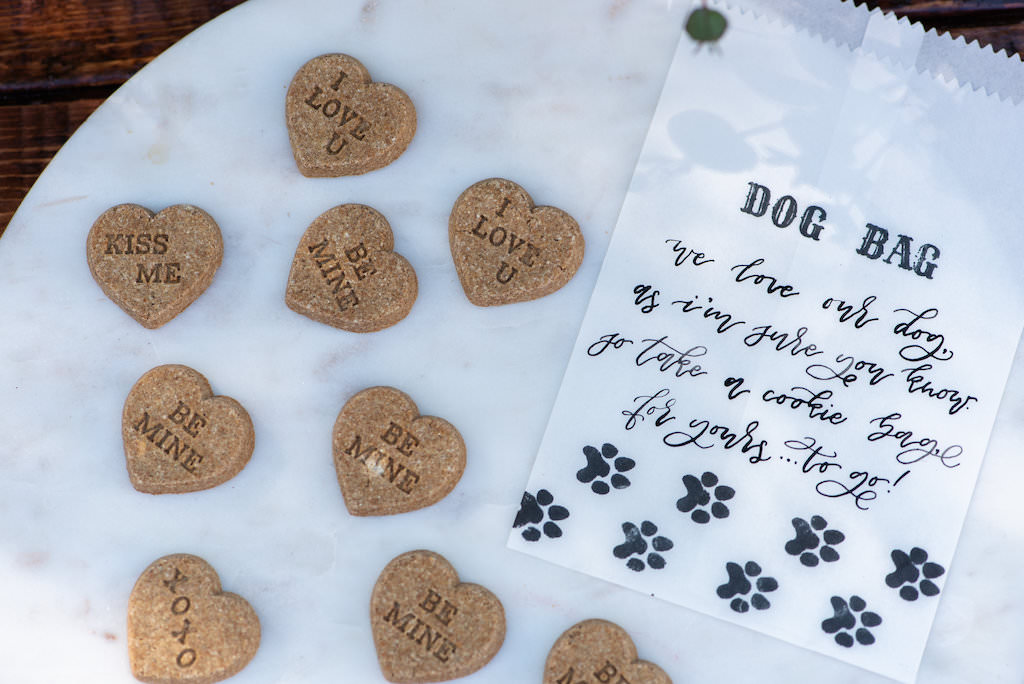 Custom Dog Biscuit Cookie Wedding Favors and Custom Doggie Bag Take Home Favor | Tampa Bay Wedding Photographer Caroline and Evan Photography | Designer and Planner Southern Glam Weddings and Events | Wedding Cake Baker Artistic Whisk