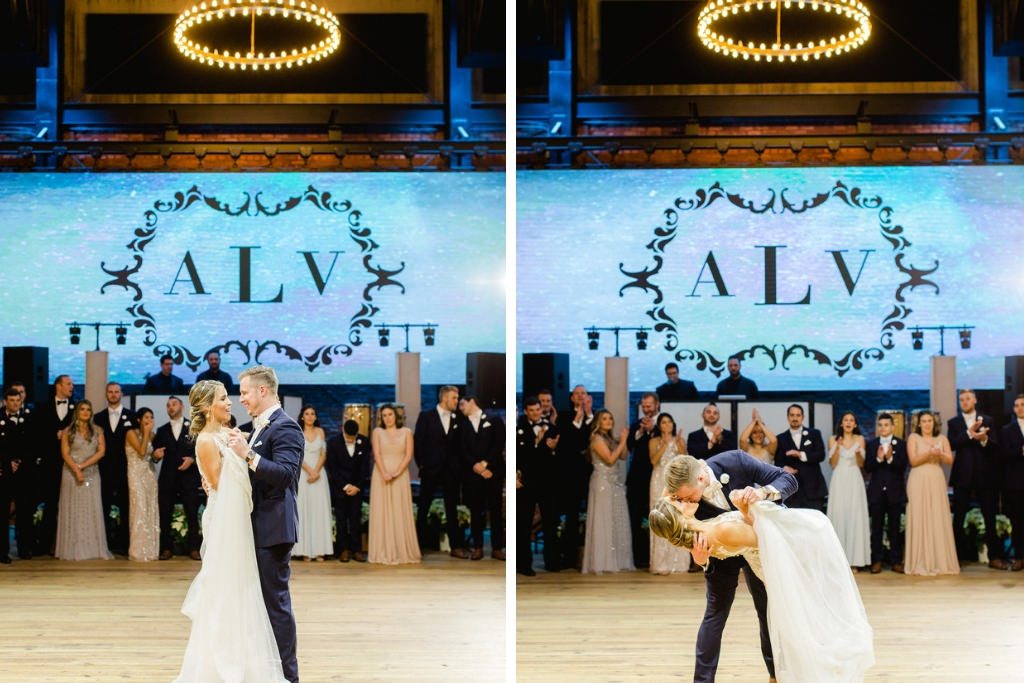 Wedding Reception Bride and Groom First Dance Wedding Portrait, Projector Screen with Monogram Initials | Downtown Tampa Industrial Historic Wedding Venue Armature Works