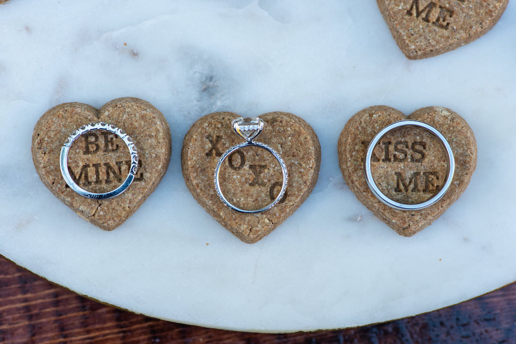 Custom Dog Biscuit Cookie Wedding Favors Diamond Engagement Ring, Bride and Groom Wedding Rings | Tampa Bay Wedding Photographer Caroline and Evan Photography | Designer and Planner Southern Glam Weddings and Events | Wedding Cake Baker Artistic Whisk