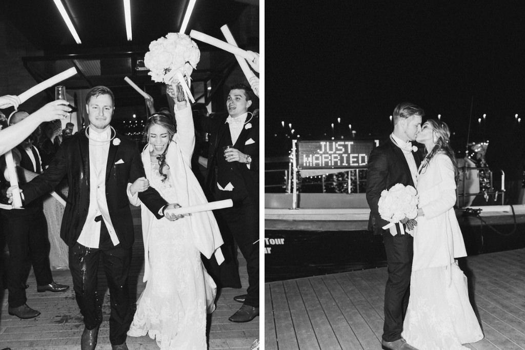 Florida Bride and Groom Black and White Boat Sendoff Wedding Exit Portrait